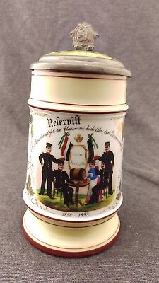 Antique 1/2L Regimental German Beer Stein Regt. 99 1890 - 1893 Lithophane Bottom