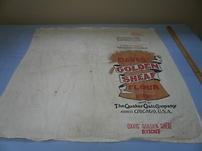 "Vintage DAVIS' GOLDEN SHEAF Advertising Cloth Flour Sack Oats 30x32"" ChicagoIL"