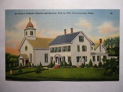 Old Postcard, PROVINCETOWN, MASSACHUSETTS, ST. PETER'S CATHOLIC CHURCH AND RECTO