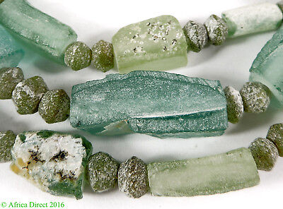 Ancient Roman Glass Bowl Fragment Beads Green Afghanistan SALE WAS $39.00