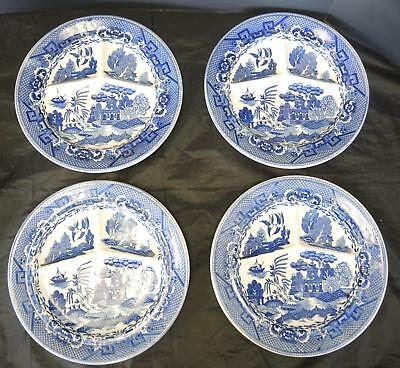 Four Antique Blue Willow Grill Plates Made In Japan