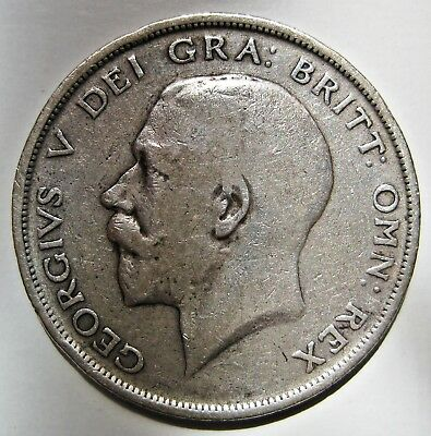 Great Britain 1916 King George V Silver Half Crown Coin (Km#818.1)