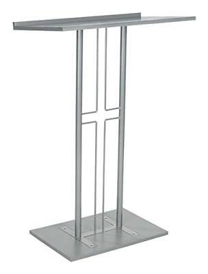 New Source One Silver Floor Podium Cross Design Church  Pulpit- Steel / Wood