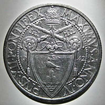 Bright Vatican 1942-R Pope Pius Xii One Lira Coin (Km#35)