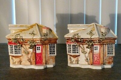 """""""Sebastion Miniatures"""" Hand Cast Hand Painted House Bookends Rare HTF Boston 1&2"""