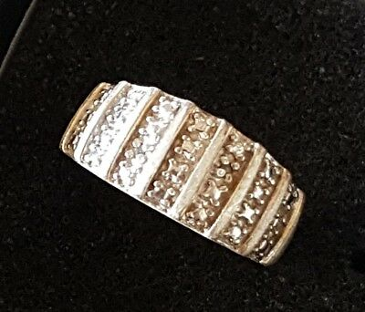 Vintage Chinese Export Sterling Silver Ring with 2 genuine Diamonds Channel Set