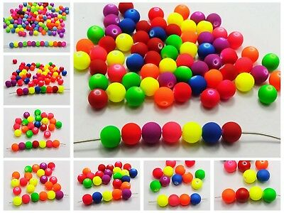 DIY Mixed Fluorescent Neon Color Acrylic Smooth Round Beads 6mm-12mm Rubber Tone