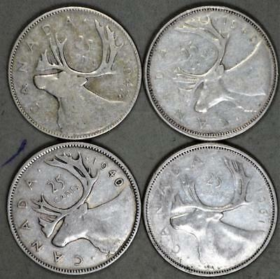 Canada 25 Cents Lot of 4 Silver Coins