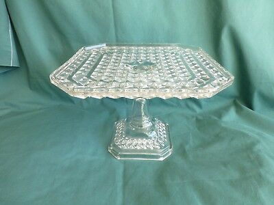 Antique Fine Cut Early American Pattern Glass Square Cake Stand