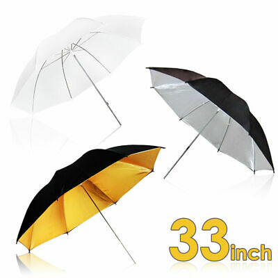 Photography Photo Studio Black Gold White Reflective Umbrella Flash Lighting