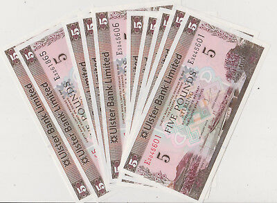 Northern Ireland 2013 5 Pounds Ulster Bank 10pieces all perfect GEM UNC