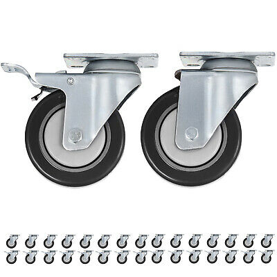 32 Pack 4 Inch Swivel Plate Casters w/16  Brakes Durable Polyurethane Wheels