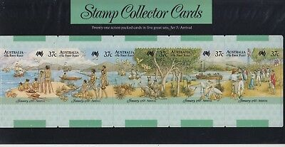 Stamps Australia First fleet Arrival set of 5 collector cards pack postmarked