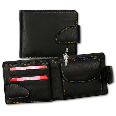 Leather Wallet Black Mens Wallet Purse opd100s [Old River]