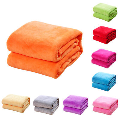Home Soft Warm Solid Micro Plush Fleece Blanket Throw Rug Sofa Coral Bedding Mat
