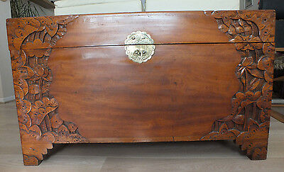 Carved Camphor Wood 1950's Oriental Blanket Box Chest