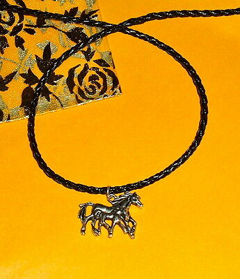 Horse MARE & FOAL Pendant NEW Silver Plated Blk Braided Leather Necklace
