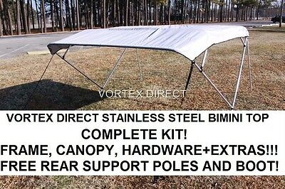 """New Grey/gray Vortex Stainless Steel Frame Bimini Top 8 Ft Long, 97-103"""" Wide"""