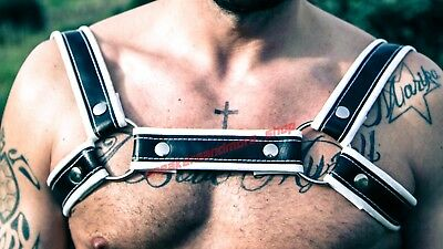 HARNESS leather man BONDAGE regolabile BDSM FETISH MADE IN ITALY black/white S/M