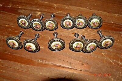 12 Antique French Draw Handles Brass With Pocelain Inserts Superb