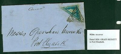 SG 6a Cape of good hope 4d on cover 1856 to Port Elizabeth. Stamp lifted and...