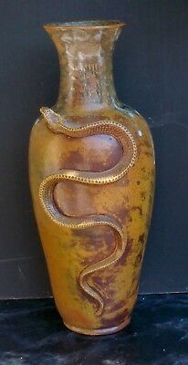 Theo Perrot Exceptionnel Grand Vase Gres Serpent Ecole Carries Haut.45Cm.