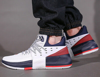 pretty nice 564df a7872 New ADIDAS Dame 3 Damian Lillard BY3762 Mens sneaker white red navy size 11