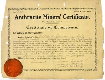 1906 Anthracite Coal Miner Certificate of Competency Carbondale Pennsylvania
