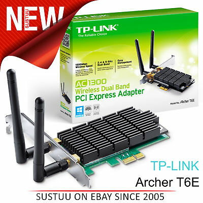 TP-Link Archer T6E│AC 1300 Wireless Dual Band PCI Express Adapter│Two Antennas