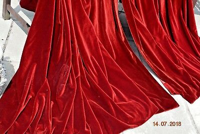Antique  French Heavy Thick Velvet Curtains Each 98 Ins Wide 78 Ins Long