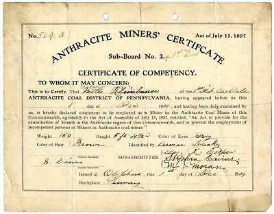 1909 Anthracite Coal Miner Certificate of Competency Olyphant Pennsylvania