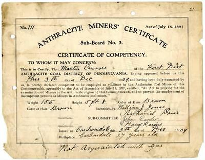 1909 Anthracite Coal Miner Certificate of Competency Carbondale Pennsylvania #2