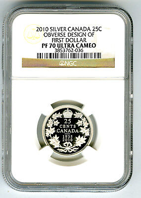 2010 Canada 25 Cent Silver Proof Ngc Pf70 Quarter Obverse Design Of First Dollar