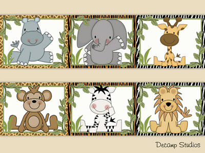 Safari Animal Boy Nursery Wallpaper Border Wall Art Decal Jungle Kids Room Decor