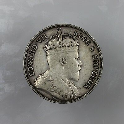 1907 50 Cent Silver British Honduras Or Belize Low Mintage Rare Coin