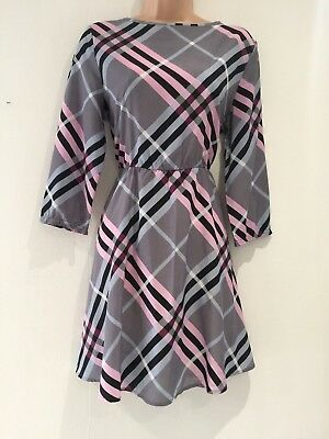 Vintage 90's Does 70's Grey Pink & Blue Check Print Fit & Flare Day Dress 10-12