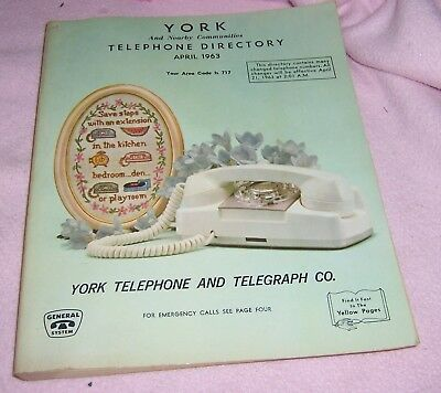 Vintage York PA April 1963 Telephone & Telegraph  Book