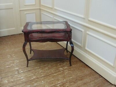 Dollhouse Miniature Mahogany Table w Removable Clear Top