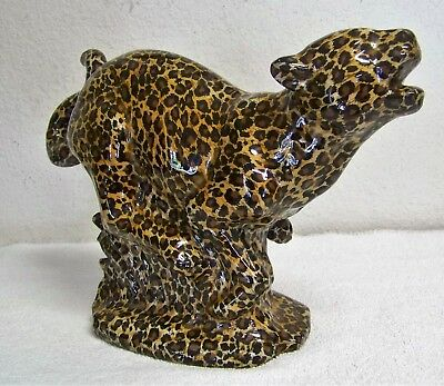 Ceramic Leopard Cheetah Figurine Wrapped and Clear Coated