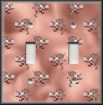 Metal Switch Plate Cover Pink Grey Silver Mythical Decor Winged Lion Design