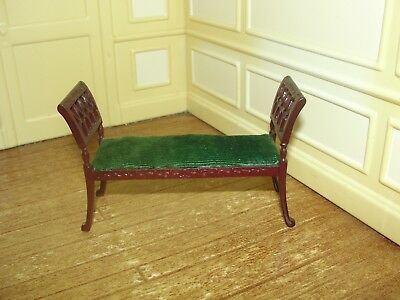 Dollhouse Miniature Mahogany Upholstered Green Velvet Bench