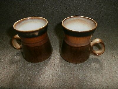 2 X Iden Pottery Rye Vintage  Brown Mugs