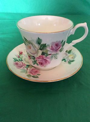 Springfield Bone China England Cabbage Rose Cup & Saucer