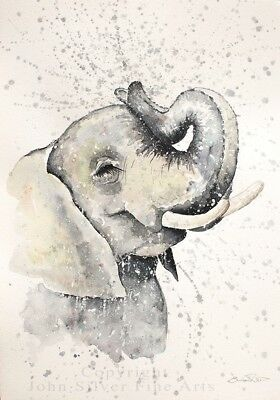ELEPHANT PORTRAIT ORIGINAL WATERCOLOUR PAINTING by UK Artist EMMA STEEL. BA.