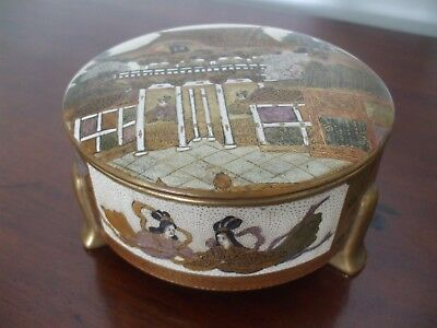 A Finely Decorated & Signed Oriental Antique Satsuma Trinket Jewellery Box