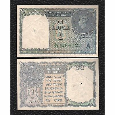 India P-25d 1940 1 Rupee - Grades Very Fine w/Spindle Hole