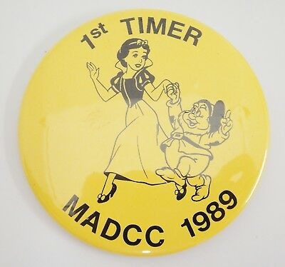Madame Alexander Doll Convention 1st Timer Button MADCC 1989 Snow White  & Doc