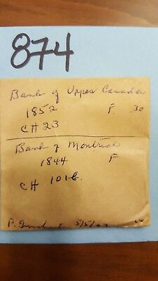 Lot 874 Two Bank Upper Canada Penny Token 1852 Bank Montreal 1844 1/2 Penny 5/63