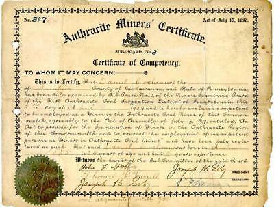 1909 Anthracite Coal Miner Certificate of Competency Lackawanna Pennsylvania #2