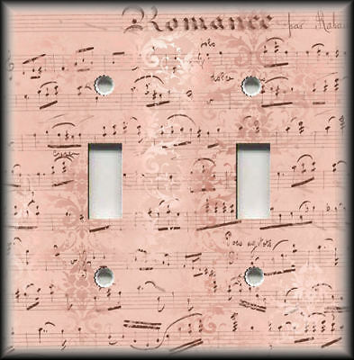 Metal Light Switch Plate Covers Rose Pink Shabby Chic Decor Vintage Sheet Music